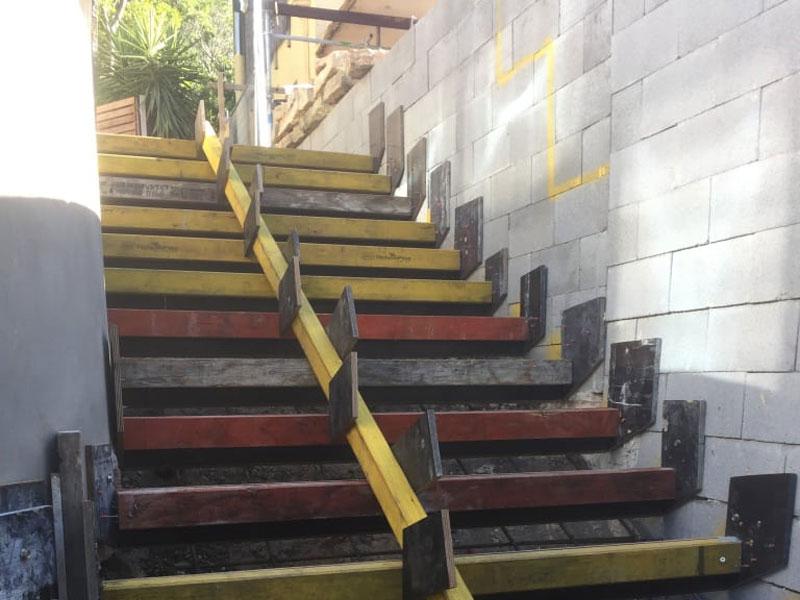 outdoor concrete stair construction